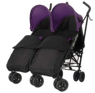 O Baby Obaby Apollo Black/Grey Twin Stroller and Black Footmuffs (Pink)
