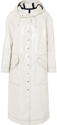 ALEXACHUNG Hooded Coated Cotton-blend Trench Coat - Cream