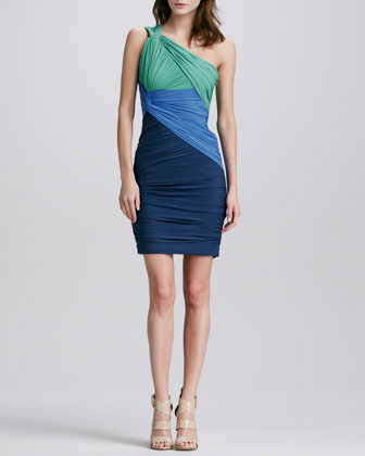 Halston Ruched Colorblock One-Sholuder Dress
