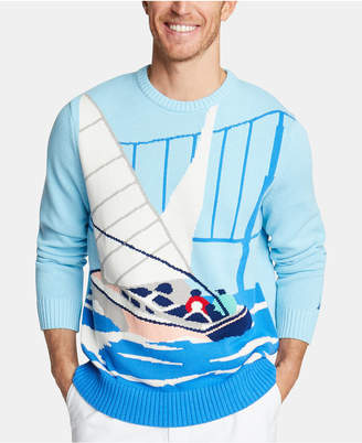 Nautica Men Cotton Intarsia Sailboat Sweater