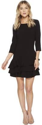 Halston Elbow Sleeve Round Neck Dress w/ Flounce Women's Dress