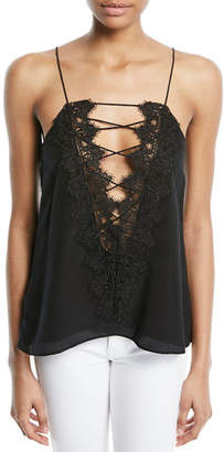 CAMI NYC The Charlie Lace-Back Silk Crepe de Chine Tank