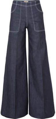 Burberry High-rise Wide-leg Jeans - Dark denim