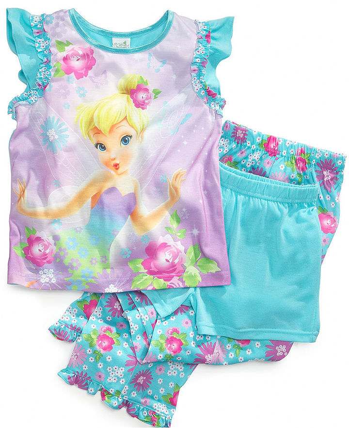 AME Kids Set, Girls or Little Girls 3-Piece Tinker Bell Pajamas with Shirt, Shorts and Pants