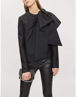 Givenchy Oversized bow-trim mohair and wool-blend top