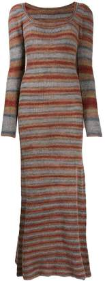 Jacquemus long sleeve knitted striped maxi dress