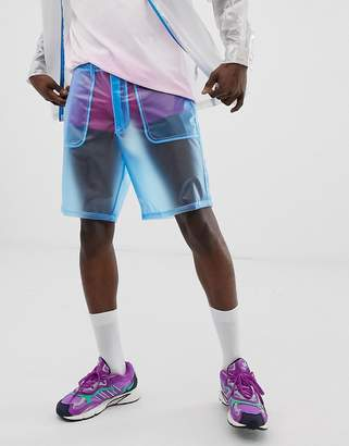 Asos Design DESIGN festival two-piece boxy shorts in sheer blue
