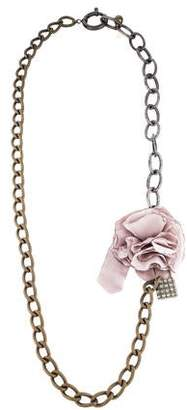 Lanvin Crystal & Fabric Flower Chain-Link Necklace