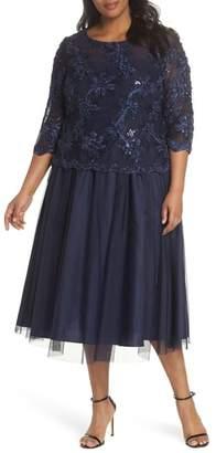 Alex Evenings Embellished Bodice Tea Length Mesh Dress