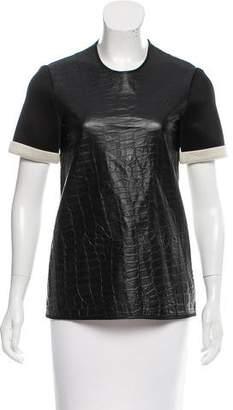 Ellery Leather-Trimmed Short Sleeve Top