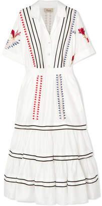 Temperley London Cherry Blossom Ruffled Embroidered Cotton Midi Dress - White