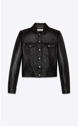 Saint Laurent Denim Jacket In Shiny Lambskin