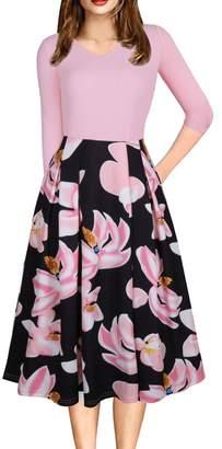 Lettre d'amour Women 1940'S Vintage Floral Swing 3/4 Sleeve Midi Dress L