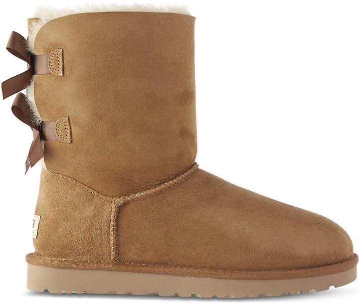 Ugg Ladies Brown Bailey Bow Sheepskin Boots