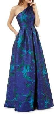 Carmen Marc Valvo Floral One-Shoulder Ball Gown