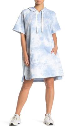 DKNY Tie-Dye Front Logo Embroidered Oversized Pullover Dress