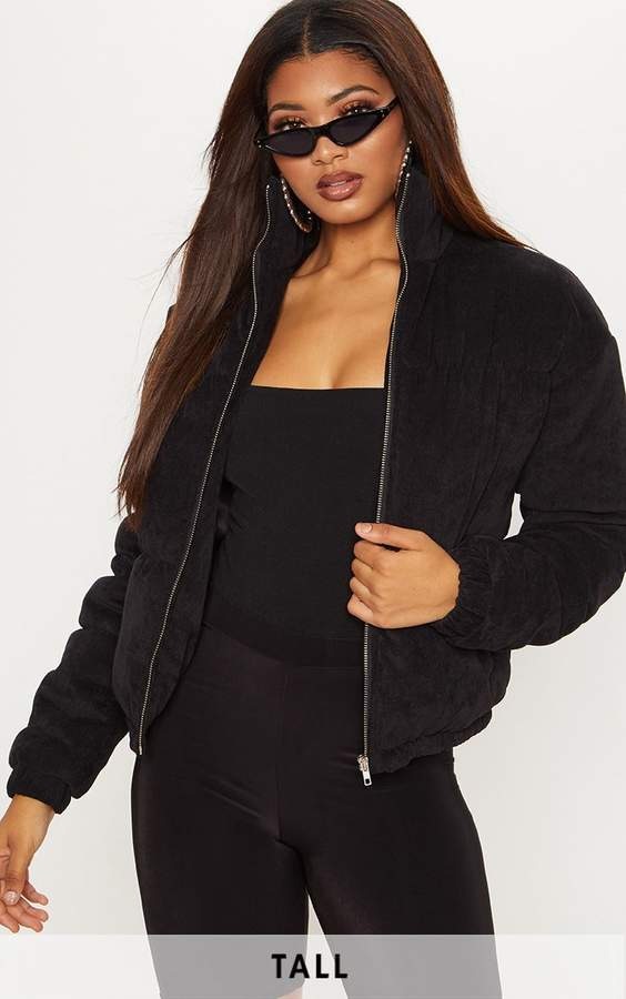 Tall Black Cord Puffer Coat