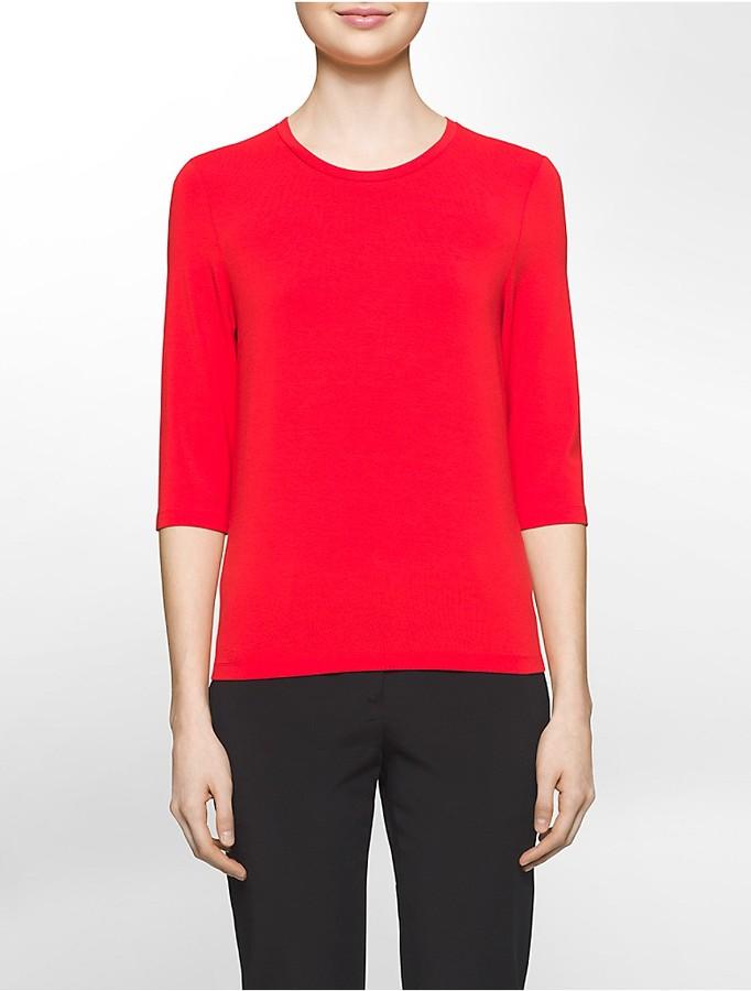 Calvin KleinPlatinum Stretch Jersey 3/4-Sleeve T-Shirt