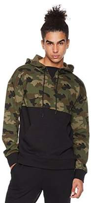 Rebel Canyon Men's Young FR Terry Long Sleeve Camo Blocked Pullover Hoody with Front Pouch Pocket