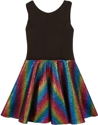 Zoe Sleeveless Dress with Foil Rainbow Skirt, 4-6X