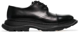 Alexander McQueen black tread derby leather shoes