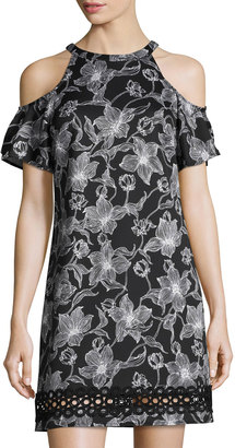 Julia Jordan Cold-Shoulder Floral-Print Scuba Dress, Black/White $99 thestylecure.com