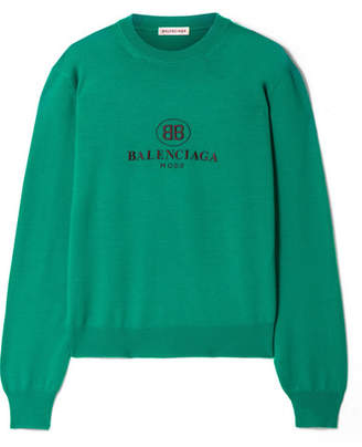 Balenciaga Embroidered Wool Sweater - Emerald
