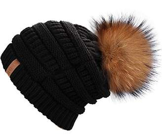 FURTALK Winter Real Fur Pom Beanie Hat Warm Oversized Chunky Cable Knit  Slouch Beanie Hats for a5e3e503aa78