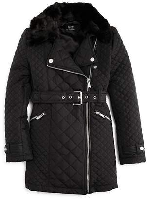 Bardot Junior Girls' Quilted Coat with Faux-Fur Collar - Big Kid