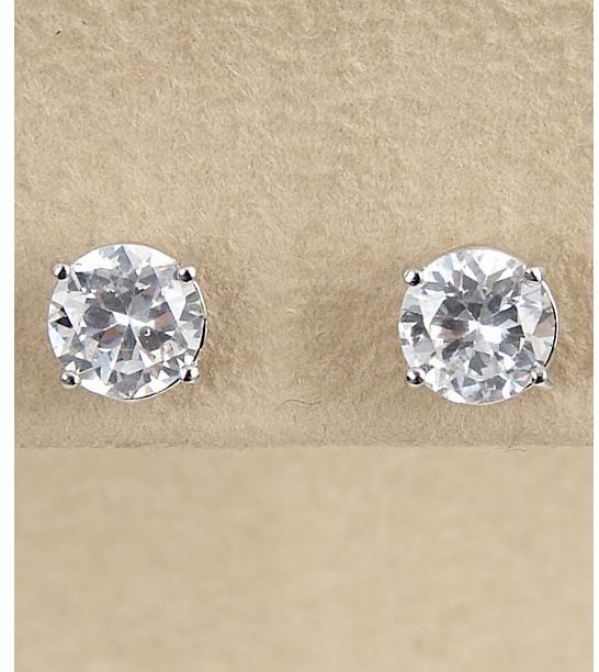 Dillard's sterling collection 7mm cz earrings
