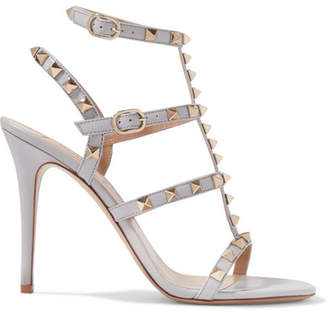 Valentino Garavani The Rockstud Patent-leather Sandals - Light gray