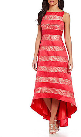 Adrianna PapellAdrianna Papell Striped Lace Fit & Flare High-Low Ballgown
