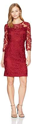 Alex Evenings Women's Short Rosette Shift Dress with 3/4 Sleeves (Petite and Regular Sizes)