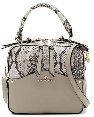 Celine Dion Motif Top Handle Snake Embossed Leather Shoulder Bag