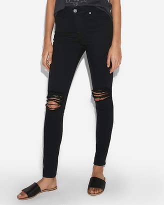 Express High Waisted Ripped Stretch Jean Leggings