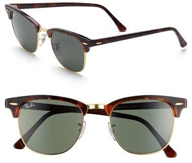 Men's Ray-Ban 'Classic Clubmaster' 51Mm Sunglasses - Dark Tortoise/ Green