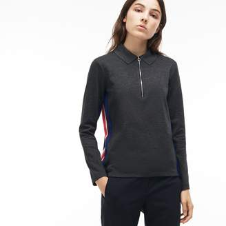 Lacoste Women's Regular Fit Zip Neck Polo With Contrast Sleeves