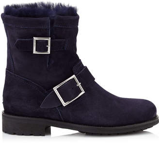 Jimmy Choo YOUTH Navy Suede Biker Boots with Rabbit Fur Lining