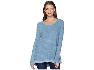 True Grit Dylan by Washed Indigo Mini Stripe Loose Long Sleeve Tee with Rib Hem