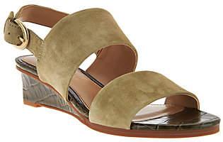 Judith Ripka Leather Wedge Sandals w/ Backstrap- Zoe