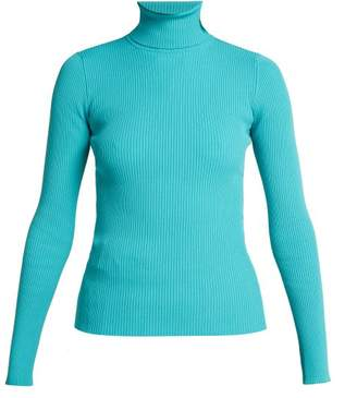 Balenciaga Ribbed Knit Roll Neck Sweater - Womens - Blue