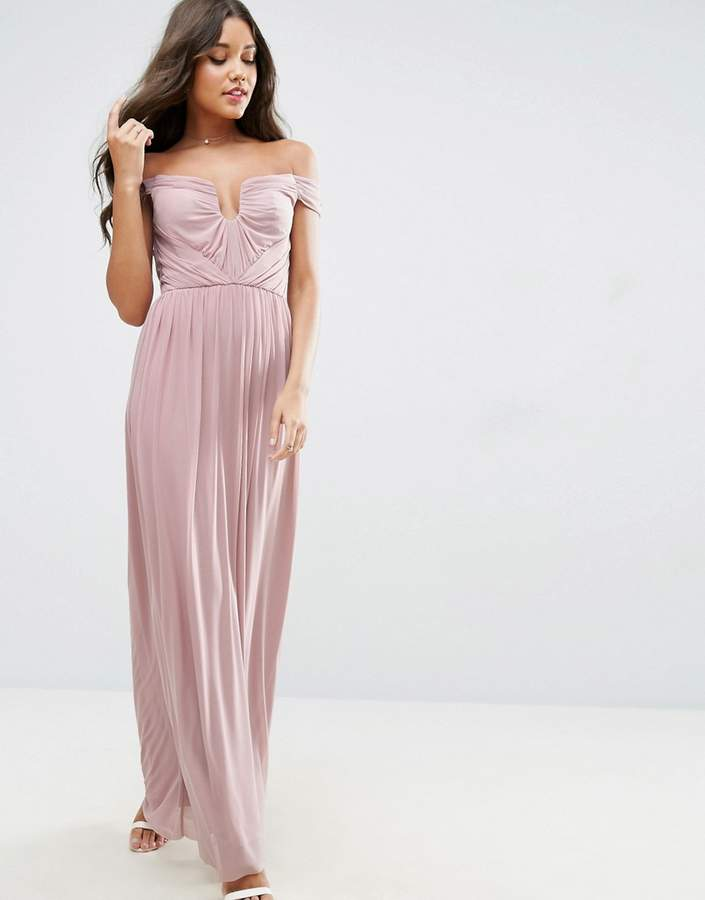 Asos ASOS WEDDING Ruched Mesh Bardot Maxi Dress