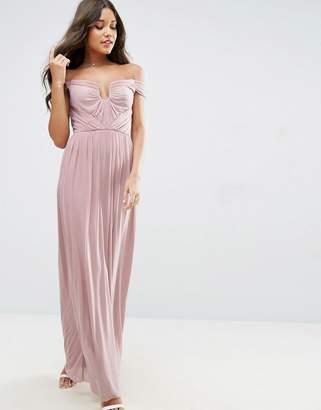 Asos DESIGN Bridesmaid ruched mesh bardot maxi dress