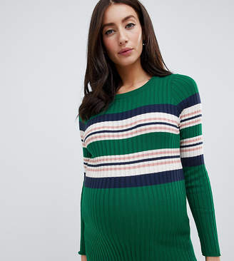 New Look Maternity ribbed stripe detail sweater in green