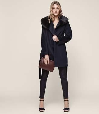 Reiss Aeven Faux Fur Collar Wrap Coat