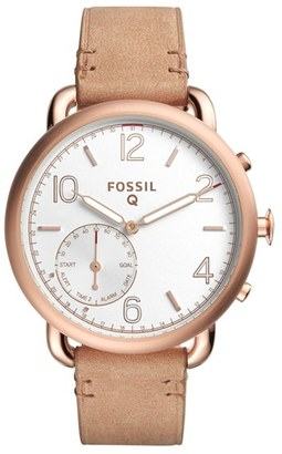 Women's Fossil Q Tailor Leather Strap Smart Watch, 40Mm $195 thestylecure.com