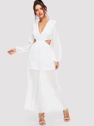 Shein Plunging Neck Cutout Waist Mesh Overlay Dress