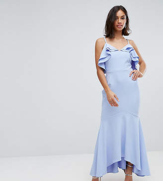 John Zack Petite Ruffle Front Fishtail Maxi Dress With High Low Hem