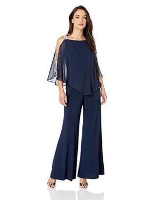 MSK Women's Silver Bar Sleeve Wide Leg Jumpsuit Chiffon Overlay