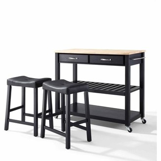 """Crosley Furniture Natural Wood Top Kitchen Cart with 24"""" Upholstered Saddle Stools"""